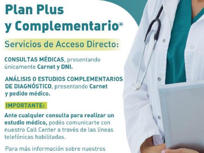 Beneficiarios del Plan  Plus y Complementario pueden realizar consultas, análisis y estudios con acceso directo