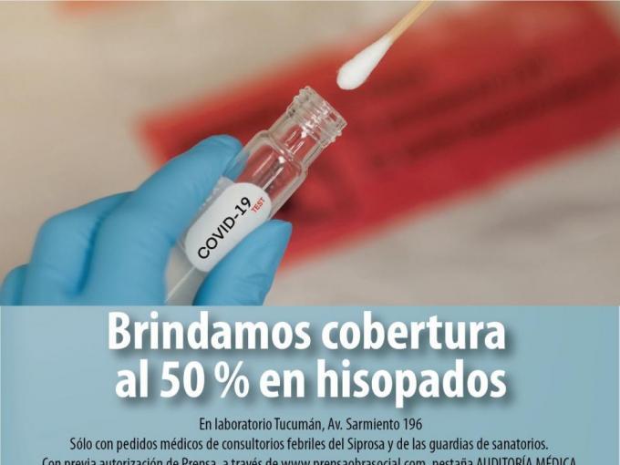 Brindamos cobertura al 50 % en hisopados